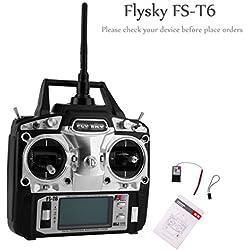 RCmall Flysky FS-T6 Alta Precisión 2.4G 6 Canales 6ch Radio Controlador Transmisor y Kit Receptor para RC Helicóptero Racing Drone