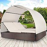 Polyrattan Sonnenliege | Braun, Platz für 2 Personen, mit Sitzauflage | Doppel-Sonnenliege, Doppelliege mit Sonnendach, Gartenliege, Rattanliege, Gartenmöbel Set
