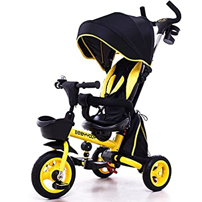 QXMEI Children's Three-wheeled Bicycle Baby 1-3-5 Year Old Trolley Bicycle Can Sit Down And Fold Easily,Yellow