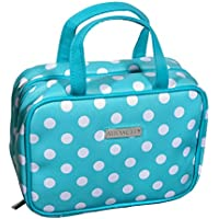 Audacity Hanging Turquoise Blue and White Polka Dot Compact Small Cosmetic Travel Toiletry Wash Bag with handles for women and girls