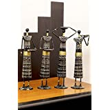 [Sponsored]Idols & Figurines Showpiece Center Piece Home Decor Items Showpieces And Collectibles Figurines For Home Decoration By Cocovey Homes - Set Of Four - Tribal Dancing Lady