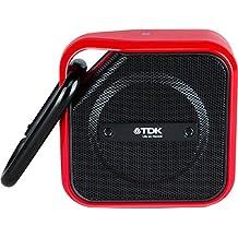 TDK A12 Trek - Micro altavoz Bluetooth, portátil con tecnología NFC, a prueba de agua y con mosquetón, negro/rojo