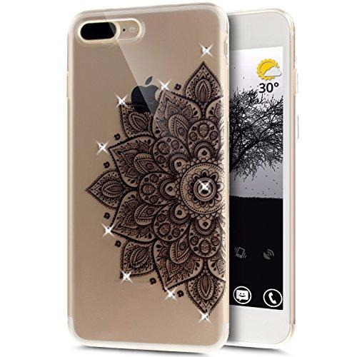 Coque iPhone 7 Plus, Étui iPhone 7 Plus, iPhone 7 Plus Case, ikasus® Coque iPhone 7 Plus Fleur peinte avec Luxe Shiny Glitter Strass Cristal Brillant Bling Diamant Housse Transparent TPU Silicone Étui Demi-fleur noir