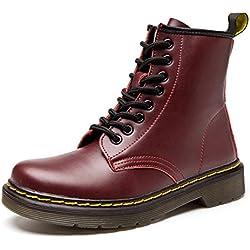Botas de Mujer Cuero Impermeables Botines Hombre Invierno Zapatos Nieve Piel Forradas Calientes Planas Combate Militares Martin Boots,Rojo 39