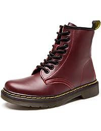 ukStore Botas de Mujer Cuero Impermeables Botines Hombre Invierno Zapatos Nieve Piel forradas Calientes Planas Combate Militares Martin Boots