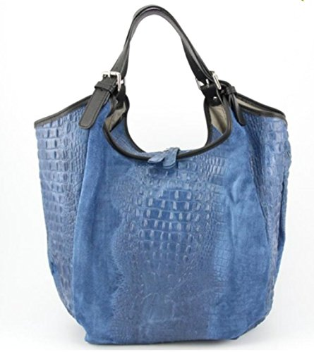 SUPERFLYBAGS Borsa Sacca Shopper In Vera Pelle Camoscio stampa coccodrillo modello Costanza Croco Made In Italy Blu scuro