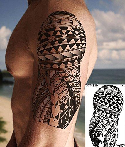 TATTOO ID XXL SAMOAN tribal maori tatouage ephemere temporaire hypoallergénique Fabriqué en FRANCE 1 planches 22cm x 14,5cm Homme Femme