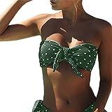 Italily Bikini Donna Costume da bagno sexy stampato a pois, imbottito push-up, imbottito da bagno, costumi da bagno, costumi da bagno (verde, S)