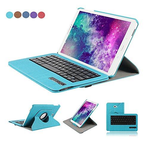 Funda para teclado Samsung Galaxy Tab 10.1 de Dingrich, de piel sintética, 2016 (SM-T580), con soporte giratorio de 360grados, para teclado inalámbrico Bluetooth desmontable, protector de pantalla y lápiz óptico
