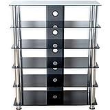STILISTA® TV Rack Schrank Ständer Möbel Regal HiFi Audio Glas Schwarzglas, extra groß H 113,5 x B 90 x 40 cm