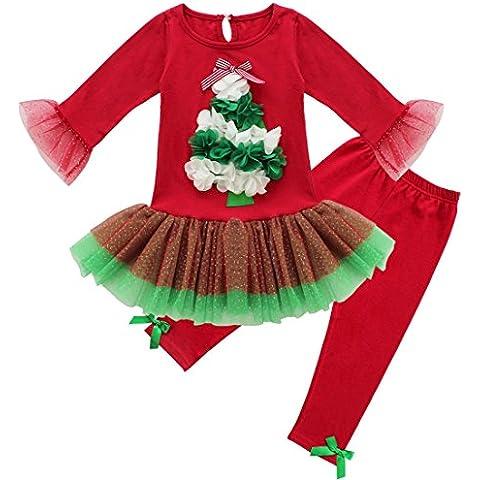iEFiEL Vestidos de Princesa Navidad Fiesta + Leggings para Niña Conjuntos Infantiles Vestido de Flores
