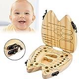 Fanxing Baby Zahnkiste, Milchzähne Box[Französisch Version], Kinder Baby Zahn Holz Box Zähne Veranstalter Saver erste Haarschnitt Andenken Zahnhalter (Khaki)