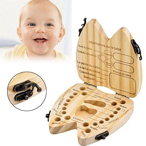te, Milchzähne Box[Französisch Version], Kinder Baby Zahn Holz Box Zähne Veranstalter Saver erste Haarschnitt Andenken Zahnhalter (Khaki) ()