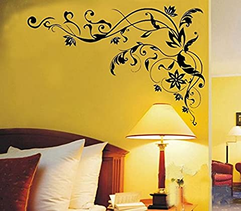 Autocollant muraux Autocollant mural en papier Décoration intérieure Décoration murale de bureau Vigne de fleur