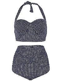 FeelinGirl Maillot de Bain Femme 2 Pièces Tankini Taille Haute Bikini Pin Up Vintage à Pois Push Up Polka M-3XL