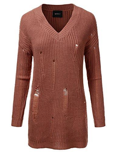Doublju Oversized Cable Knit Longline Distressed Sweater Dress For Women DARKSALMON SMALL (Distressed Knit)