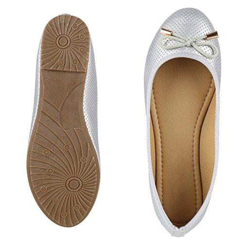 napoli-fashion Klassische Damen Ballerinas Metallic Flats Schleifen Elegante Lack Slippers Glitzer Schuhe Flache Abendschuhe Spitze Jennika Silber