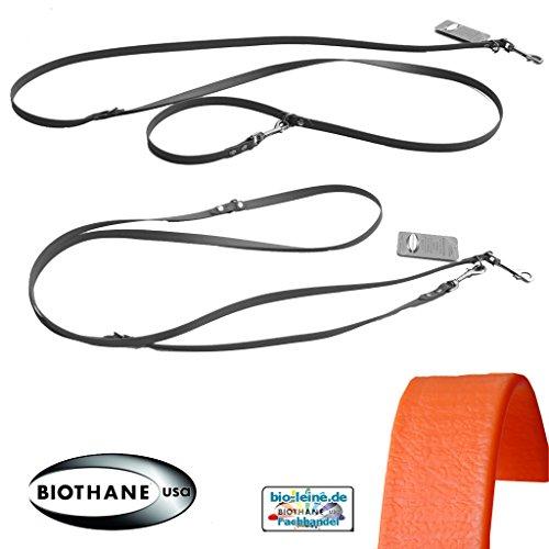 bio-leine Verstellbare robuste Hundeleine aus BioThane I Leine Doppelleine für große Hunde - 2,5 m lang   Orange   25 mm breit