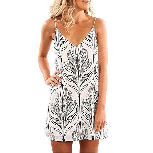 Vestidos corto mujer, Magiyard Boho Mujeres Verano De Hombro Sin Manta Playa Impreso Short Mini Vestido (S, Blanco)