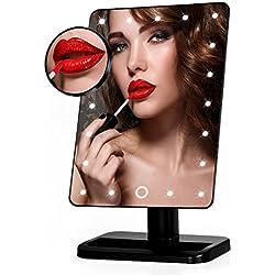 Euph Espejo de Maquillaje Iluminado, Espejo Cosmético Encendido de la Vanidad con Movible 10x Ampliación 21 LED, Perfecto para Dormitorio, Sobremesa, Baño, Vestidor, Afeitado, Viajes