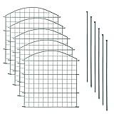 Teichzaun Set mit 5 Zaunelementen und 6 Befestigungsstäben, Welpanauslauf, Metall, Gartenzaun, Freigehege, Teich, Zaun, Set,...