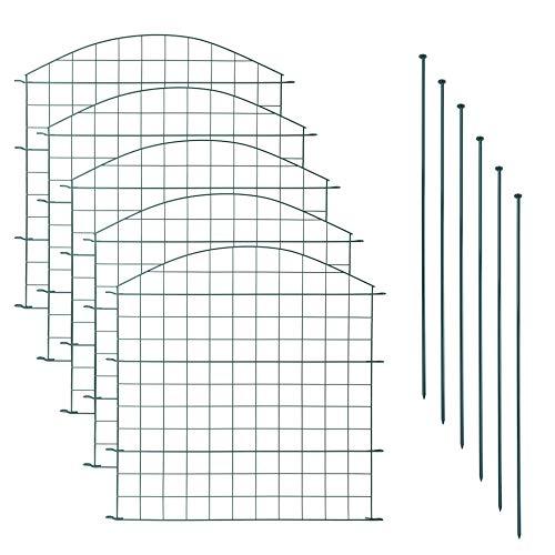 Teichzaun Set mit 5 Zaunelementen und 6 Befestigungsstäben, Welpanauslauf, Metall, Gartenzaun, Freigehege, Teich, Zaun, Set, 5 Elemente, Gitterzaun (Oberbogen)