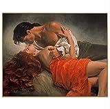 HAJKSDS Peinture par Numéro Figure Baiser Couple Peinture Calligraphie Peinture Encadrée Peinture Peinture À La Maison Décoration Numéro De Bricolage Peinture À l'huile sur Toile sans Cadre