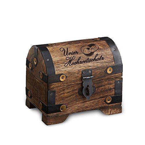 Casa Vivente Schatztruhe aus dunklem Holz mit Gravur - Unser Hochzeitsschatz - Ringe Motiv - Aufbewahrungsbox - Hochzeitsgeschenk - 10 x 7 x 8,5 cm