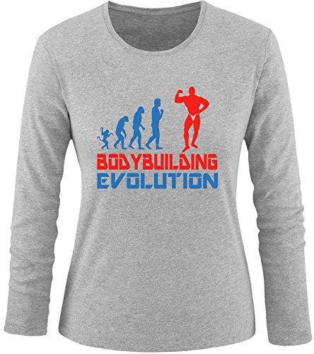 EZYshirt® Bodybuilding Evolution Damen Longsleeve Grau/Blau/Rot
