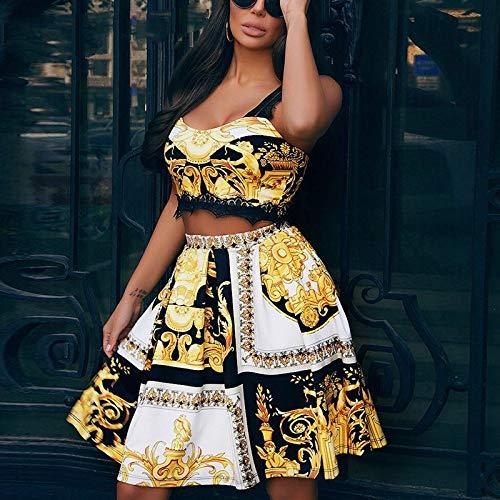 CEGFXCSW Kleid Paisley Gold Casual Kleider Für Frauen Lace Club Short Party Kleid Weibliche Sommer Elegantes Strandkleid Vintage, Gold, S -