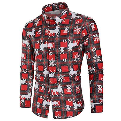 (EUZeo Hemd Weihnachten Shirts Herren Weihnachtshemd Thema 3D Digitaldruck Knöpfbar Langarm Freizeit Casual Xmas Bluse Shirt für Anzug Business Hochzeit Freizeit Party)