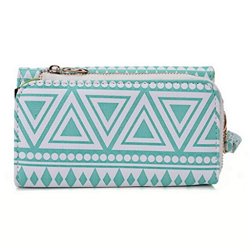 Kroo Pochette/étui style tribal urbain pour Lenovo A850 +/A916 Multicolore - White and Orange Multicolore - White with Mint Blue