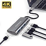 USB C-Hub, tragbarer Aluminium-USB-Typ-C-Adapter mit 3 USB-3.0-Anschlüssen USB-C-zu-4K-HDMI- und USB-C-Ladeanschluss, kompatibel mit MacBook Pro Nintendo Switch und Windows-Typ-C-Laptops