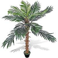 Tuduo Palmera de Coco Artificial en Maceta, 140 cm,Plantas Decorativas Artificiales