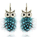Damen Modern Legierung Feder Eule Baumeln Tropfen Ohrringe Blau