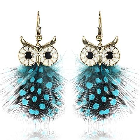 Women Modern Alloy Feather Owl Dangle Drop Earrings