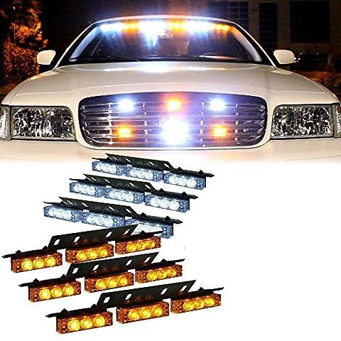 Hehemm 54LED Flash Lumière stroboscopique d'urgence pour voiture automobile Grille frontale du pont Strobe Clignotant lampe