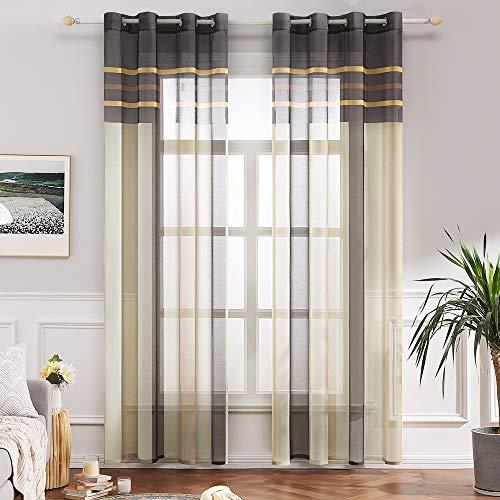 MIULEE Voile Vorhang Transparente Gardine aus Voile mit Ösen Schlaufenschal Ösenschals Transparent Fensterschal Wohnzimmer Schlafzimmer 2er Set 140x225 cm Braun + Beige