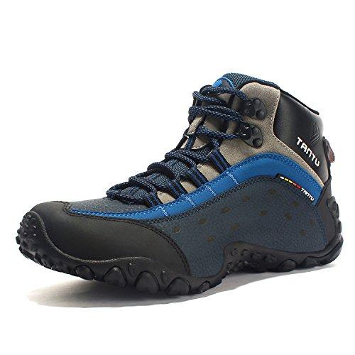 Welcame Herren Trekking-Wanderstiefel aus Leder Trekkingschuhe Wanderschuhe Atmungsaktiv Halbhoch Trekkingstiefel zum Schnürung Wasserdicht Outdoor Hikingschuhe Bergschuhe Männer Blau Gr. 46