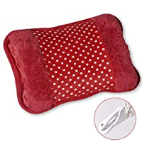 WITERY Electric Rechargeable Heating Bottle Heat Hot Water Pad Heating Bag with Fleece Hand Warmer Portable Safe Explosion Proof No Water Injection for Arthritis and Pain Relief(Red)