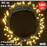 500 LED Lights - Warm white - Green Cable - Euro Plug