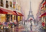 Welt-der-Träume Fototapete Tapete Wandbild Paris | P8 (368cm. x 254cm.) | Photo Wallpaper Mural 11512P8-MS | Stadt Paris Gemälde Frankreich Kunst Eiffelturm