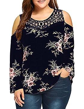 [Patrocinado]CICIYONER Blusa Impresa Floral de la Blusa Impresa Floral del Hombro del Tamaño Extra Grande de Las Mujeres Tops