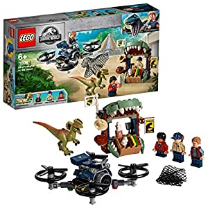 LEGO JurassicWorld DilofosauroinFuga, Setcon3Minifigure,Dronee Figura del Dinosauro, 75934 5702016367225 LEGO