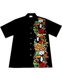 "Chemise Hawaienne Homme ""Birds of Hawaii"" 100% coton, taille M – 6XL, noir"