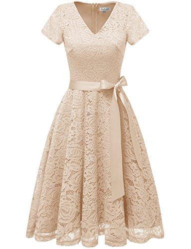 GardenWed Elegant Kleid aus Spitzen Damen Kurzarm Spitze Cocktailkleid Abendkleider Ballkleider...