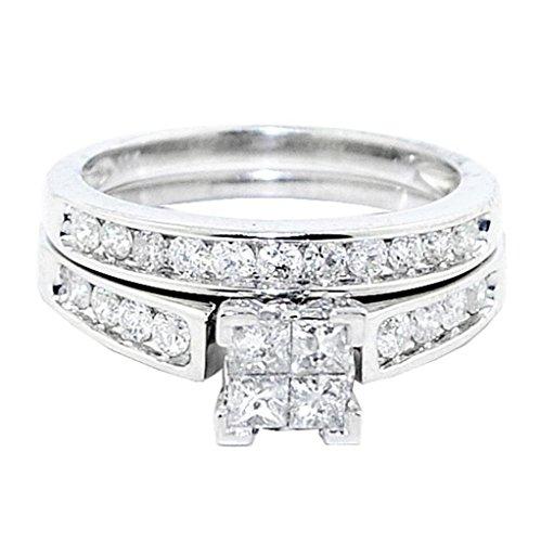 rings-midwestjewellery. COM Damen 10K Weiß Gold Princess Cut Diamant Hochzeit Ring Set 1Karat 2-teiliges Set (1-karat-diamant Ring Princess Cut)