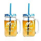 2er Set Trinkglas mit Deckel Henkel und Strohhalm – mit Gravur – Mr Right & Mrs always Right- Farbe Blau – Vintage Limonadengläser als Hochzeitsgeschenk für Frauen und Männer