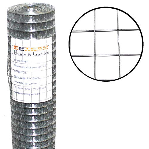 ESTEXO Volierendraht feuerverzinkt, Höhe 1,00 m 25 Meter 25 x 25 mm