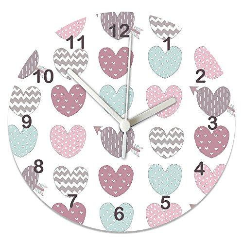 Mädchen Uhren, Herz Uhr, Pink & Grau Uhr, Pastel Hearts Uhr, Silent Uhr, Kinder Uhren, Mädchen Zimmer Uhr, Wanduhr